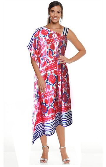 ROSE LARKSPUR DRAPED SHOULDER MIDI KAFTAN DRESS IN PINK ROSES PRINT