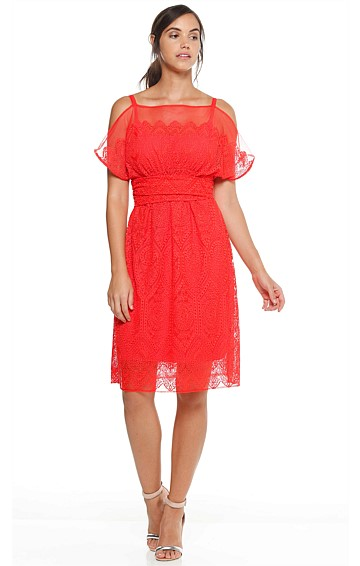 MARIPOSA LILY BOAT-NECK CUT OUT SHOULDER LACE DRESS IN TANGERINE LACE