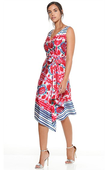 BLOOMING GEORGIA SLEEVELESS WRAP DRESS IN PINK ROSES PRINT