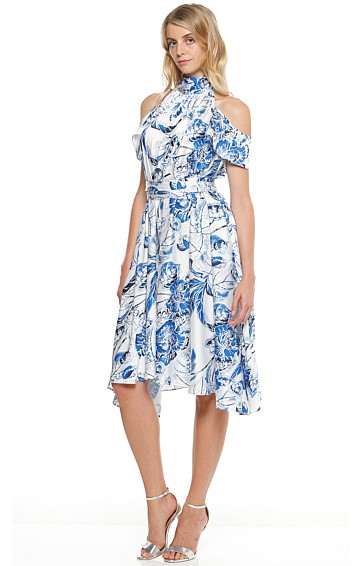 BELLA DONNA HIGH NECK CUT OUT SHOULDER HI-LO DRESS IN BLUE FLOWER PRINT