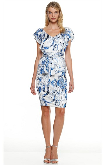 JIMSON V-NECK RUFFLE SLEEVE SHIFT DRESS IN BLUE FLOWER PRINT