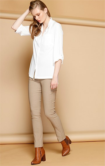 SKINNY STRETCH BENGALINE HIGH WAIST SLIMLINE PANTS IN TAUPE