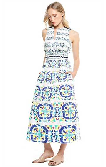 DANIA LONG COTTON SLEEVELESS SHIRTMAKER DRESS WITH SIDE SPLIT IN BLUE CIRCLE PRINT