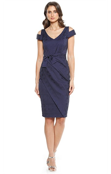 SOFIA CUT OUT SHOULDER FAUX WRAP FITTED COTTON DRESS IN NAVY JACQUARD