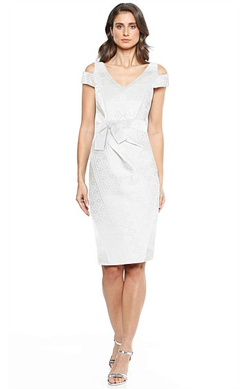 SOFIA CUT OUT SHOULDER FAUX WRAP FITTED COTTON DRESS IN IVORY JACQUARD