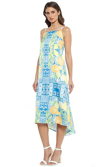 LIMONA HI-LO HEMLINE V-BACK DRESS IN LEMONS PRINT