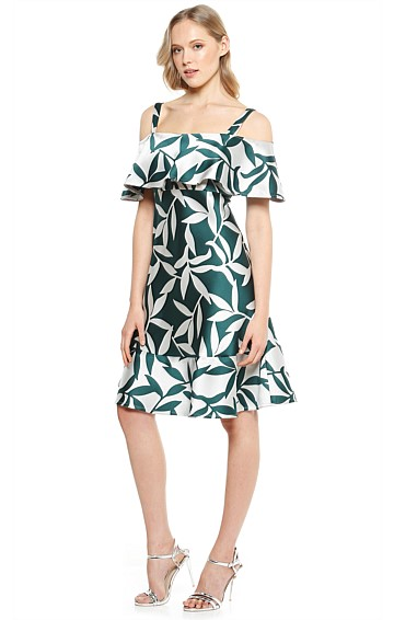 MARTINEZ CUT OUT SHOULDER FRILL KNEE LENGTH COCKTAIL DRESS IN SILVER FOREST LEAF
