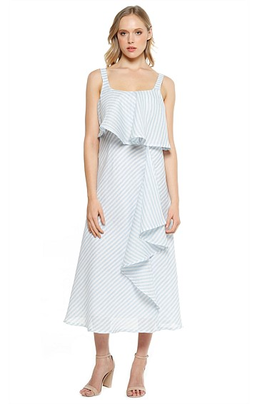 VERGARA STRIPED FRILL LINEN SLEEVELESS MIDI DRESS IN SKY WHITE STRIPE PRINT