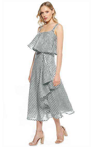 VERGARA STRIPED FRILL LINEN SLEEVELESS MIDI DRESS IN NAVY WHITE STRIPE PRINT