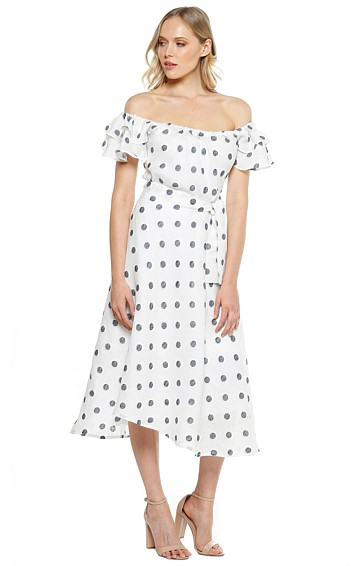 BLANCA OFF THE SHOULDER FRILL SLEEVE MIDI DRESS IN WHITE LINEN BLUE SPOT PRINT