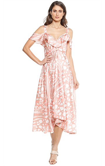 CEPEDA CUT OUT SHOULDER A-LINE MIDI DRESS IN APRICOT TAN WHITE