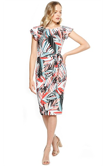FERNANDA FITTED CAP SLEEVE STRETCH JERSEY DRESS IN SPLICE LEAF PRINT