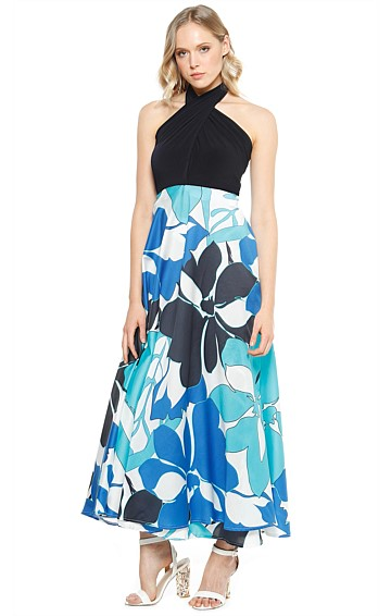 VARELA CONVERTIBLE STRETCH TOP MAXI DRESS IN AQUA FLORAL PRINT