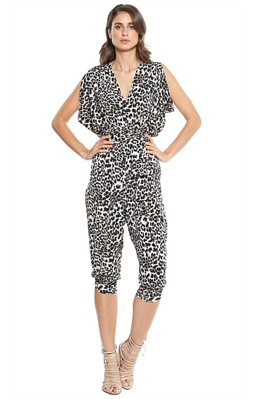 MENDEZ LOOSE FIT V-NECK STRETCH JERSEY MIDI JUMPSUIT IN LEOPARD PRINT