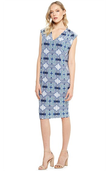 LEONOR V-NECK STRETCH LOOSE TOP PENCIL SKIRT DRESS IN BLUE WHITE ABSTRACT