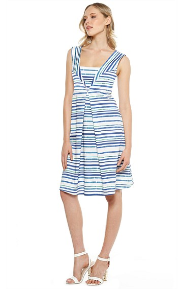 COLADA PLEATED A-LINE SLEEVELESS COTTON DRESS IN BLUE WHITE STRIPE