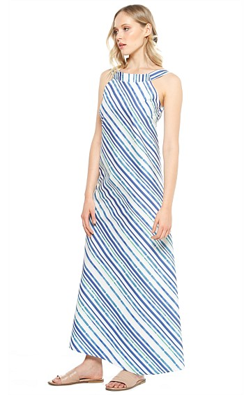 PINA STRIPED HIGH NECK SLEEVELESS MIDI DRESS IN BLUE WHITE STRIPE PRINT