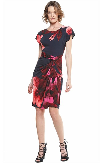 LAMARR GATHERED KNOT WAIST JERSEY DRESS IN NAVY PINK FLOWER PRINT