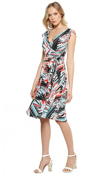 ROMERO STRETCH JERSEY A-LINE CAP SLEEVE WRAP DRESS IN SPLICE LEAF PRINT