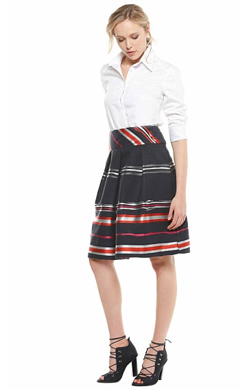 DAWSON A-LINE PLEATED KNEE LENGTH SKIRT IN RED NAVY IVORY JACQUARD