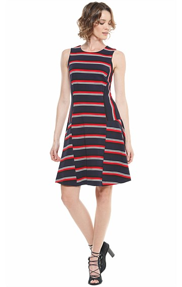 THORNDIKE STRIPED PONTI DROP WAIST KNEE LENGTH DRESS IN  RED NAVY