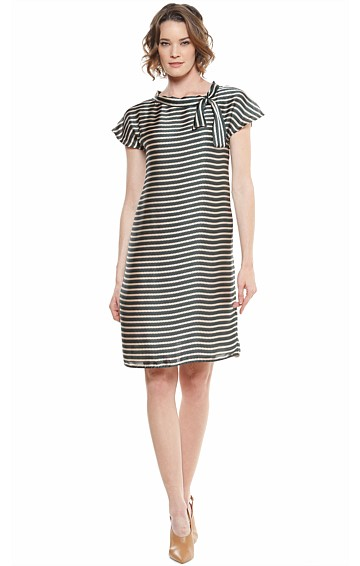 HEPWORTH STRIPED CAP SLEEVE SHIFT AND SLIP DRESS IN OLIVE GOLD ZIG ZAG PRINT