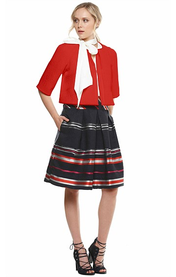 SZABO CROPPED JACQUARD OPEN FRONT JACKET IN RED