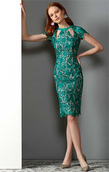 ROSALIND HIGH NECK FITTED COCKTAIL LACE DRESS IN EMERALD