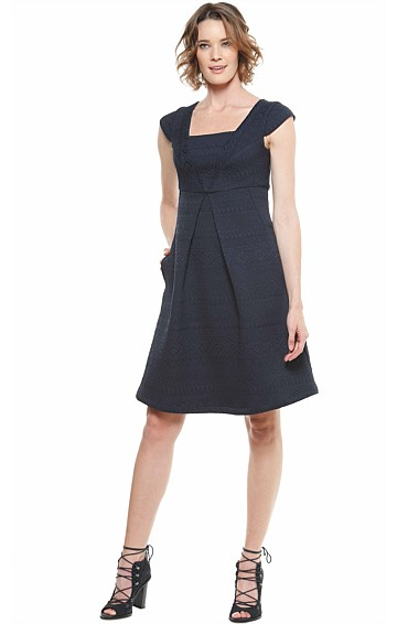 LITTLEWOOD JACQUARD SQUARE NECK A-LINE DRESS IN NAVY