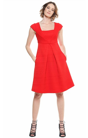 LITTLEWOOD JACQUARD SQUARE NECK A-LINE DRESS IN RED