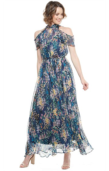 MITFORD HIGH NECK CUT OUT SHOULDER SILK LONG EVENING MAXI DRESS IN MULTI FLORAL PRINT