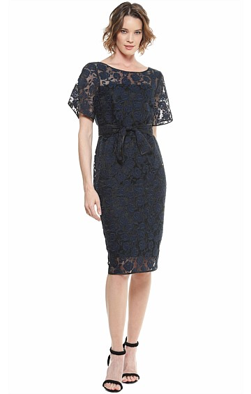 AGNES SCOOP NECK ROSE LACE COCKTAIL DRESS AND SLIP IN NAVY BLACK