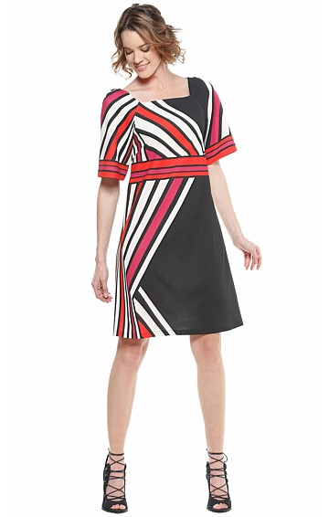 BAMBER STRIPED CREPE SQUARE NECK SHIFT TUNIC DRESS IN RED BLACK IVORY PRINT