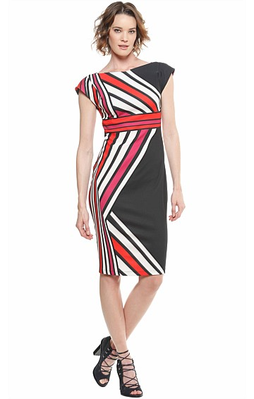 BAYLISS BOAT-NECK FITTED STRIPED CREPE CAP SLEEVE DRESS IN RED WHITE BLACK PRINT