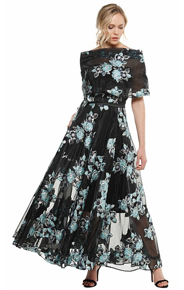 BETTE 3 IN 1 EMBROIDERED METALLIC ORGANZA EVENING GOWN WITH SLIP SKIRT AND SHAWL IN FLORAL PRINT