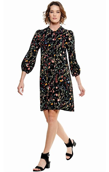 BERGMAN BELL SLEEVE TIE NECK SHIFT DRESS IN BLACK FLORAL PRINT