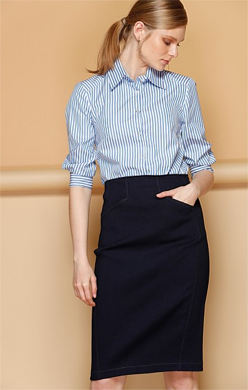 DENIM FITTED KNEE LENGTH PENCIL SKIRT IN INDIGO