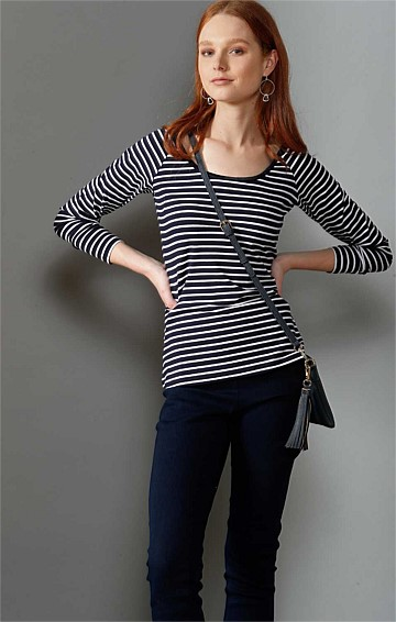 LONG SLEEVE REVERSIBLE STRETCH JERSEY TOP IN NAVY WHITE STRIPE PRINT
