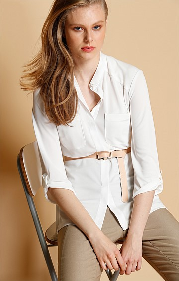 FLUID LOOSE FIT STRETCH JERSEY SHIRT WITH POCKETS IN IVORY