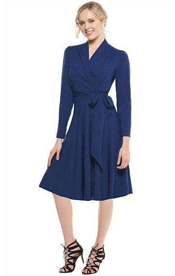 CLARA LONG SLEEVE FLARED A-LINE WRAP DRESS IN BLUE JACQUARD