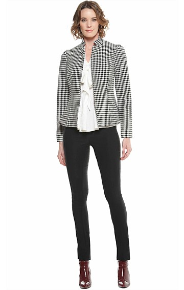 CONRAN ZIP FRONT HOUNDSTOOTH JACKET IN BLACK WHITE