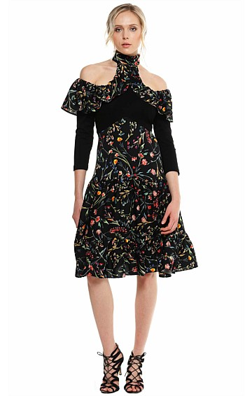 DE HAVILAND CUT OUT SHOULDER HIGH NECK FRILL DRESS IN BLACK FLORAL