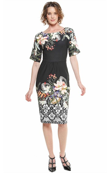 GARDNER 3/4 SLEEVE BOAT-NECK SCUBA CREPE DRESS IN BLACK FLORAL LACE PRINT