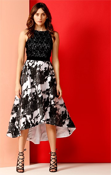 KELLY A-LINE HI-LO HEM ORGANZA LACE COCKTAIL DRESS IN BLACK AND WHITE PRINT