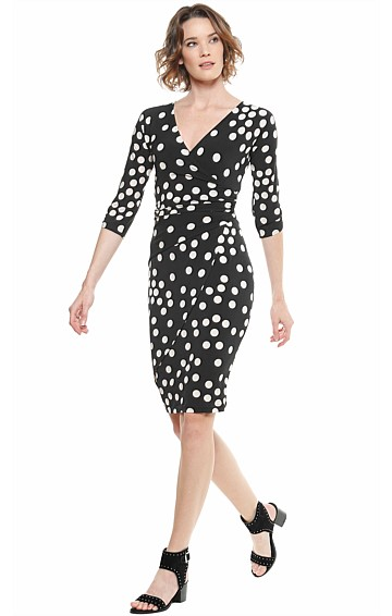 MUSGRAVE FAUX WRAP STRETCH JERSEY 3/4 SLEEVE DRESS IN BLACK CREAM POLKADOT PRINT