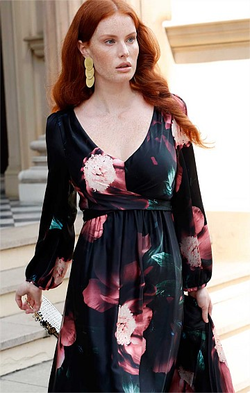 HEPBURN BELL SLEEVE FLARED KNEE LENGTH COCKTAIL DRESS IN FLORAL PRINT
