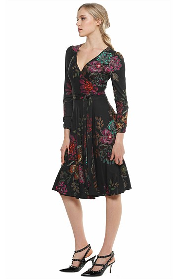 BAKEWELL STRETCH JERSEY LONG SLEEVE WRAP DRESS IN BLACK FLORAL PRINT
