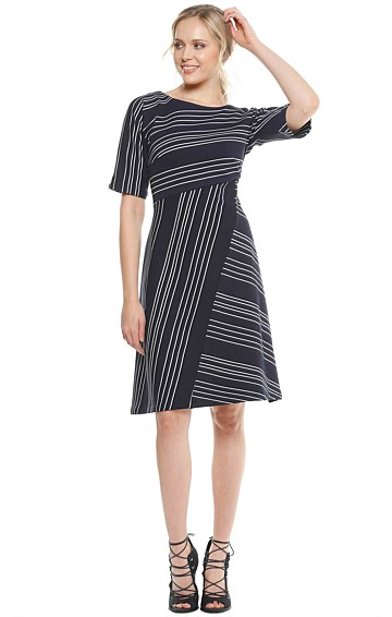 ARMSTRONG STRIPED PONTI BOAT-NECK A-LINE KNEE LENGTH DRESS IN NAVY WHITE