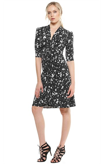 STANWYK GATHERED WAIST V-NECK LONGER SLEEVE STRETCH JERSEY DRESS IN BLACK GREY FLORAL PRINT
