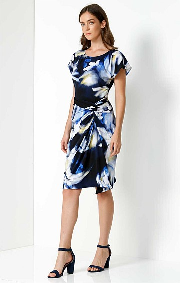 LAMARR GATHERED KNOT WAIST JERSEY DRESS IN BLUE YELLOW FLOWER PRINT